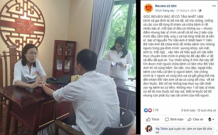 Trên nhiều diễn đàn bệnh nhân chia sẻ kinh nghiệm điều trị và bày tỏ sự yêu quý bác sĩ Vân Anh